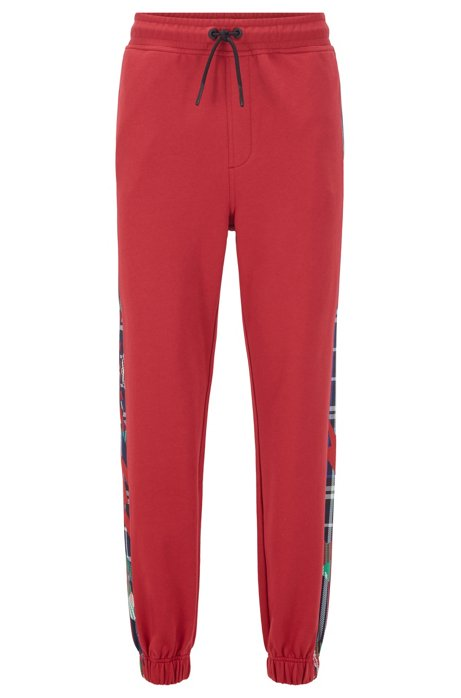 Regular-fit jogging trousers in French terry with algorithm print, Red