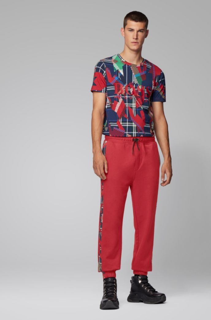 Regular-fit jogging trousers in French terry with algorithm print