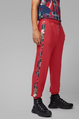 Pantaloni da jogging regular fit in french terry con stampa con algoritmo, Rosso
