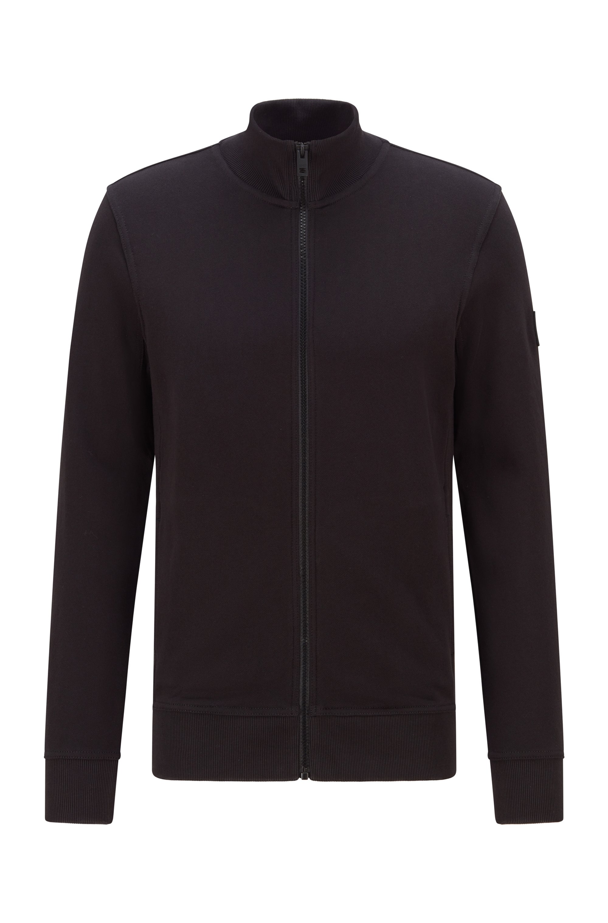 Relaxed-fit jersey jacket in African cotton, Black