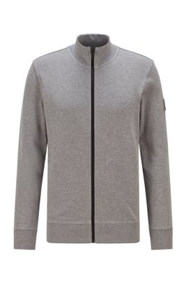 Relaxed-fit jersey jacket in African cotton, Light Grey