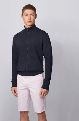 Relaxed-fit jersey jacket in African cotton, Dark Blue