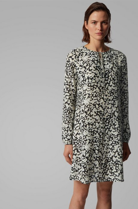 Tunic dress in floral-print canvas with keyhole neckline, Patterned