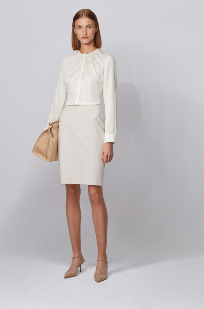 Regular-fit pencil skirt with herringbone structure