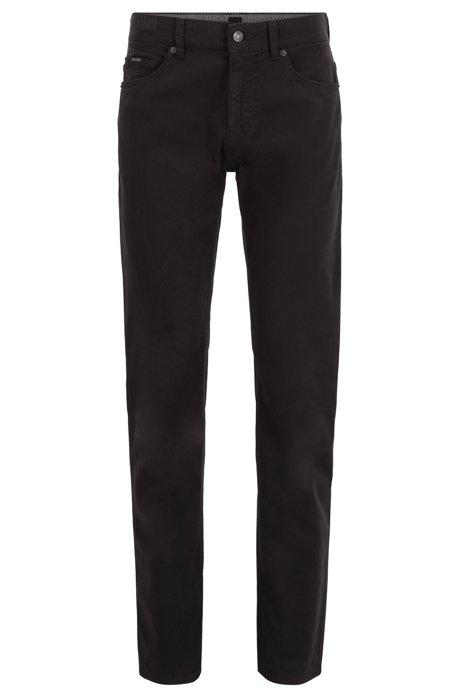 Slim-Fit Jeans aus Stretch-Denim in Satin-Optik mit Monogramm-Innenfutter, Schwarz