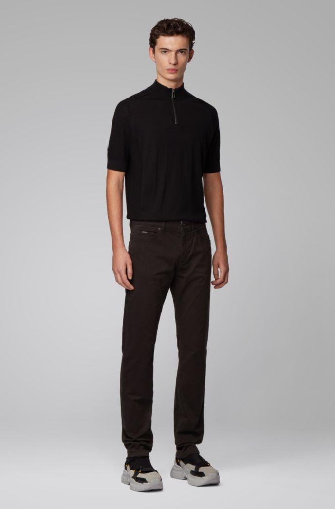 Slim-Fit Jeans aus Stretch-Denim in Satin-Optik mit Monogramm-Innenfutter