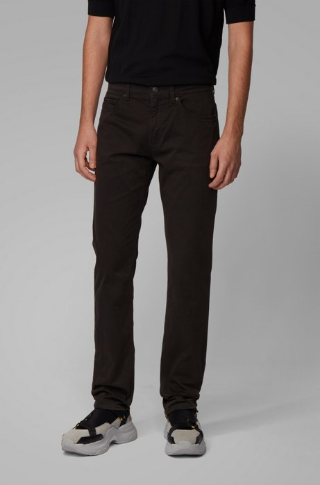 Slim-fit jeans in satin-stretch denim with monogram lining, Black