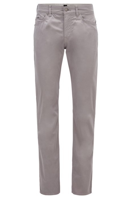 Slim-fit jeans in satin-stretch denim with monogram lining, Silver