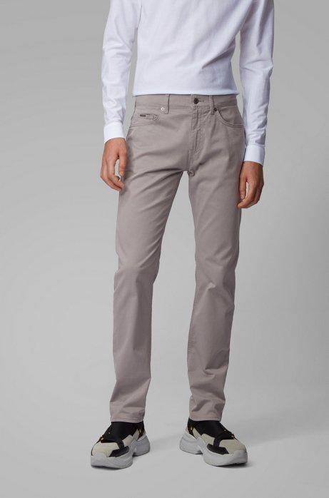 Slim-fit jeans van satijnen stretchdenim met monogramvoering, Zilver