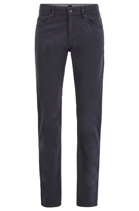 Slim-fit jeans in satin-stretch denim with monogram lining, Dark Blue