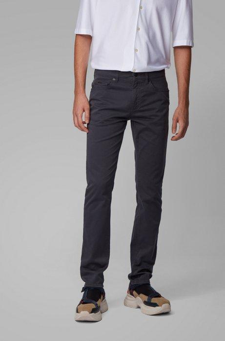 Slim-fit jeans van satijnen stretchdenim met monogramvoering, Donkerblauw