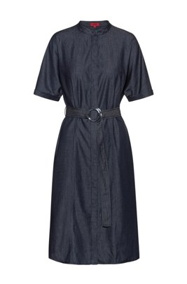Stand-collar shirt dress in Italian denim, Dark Blue