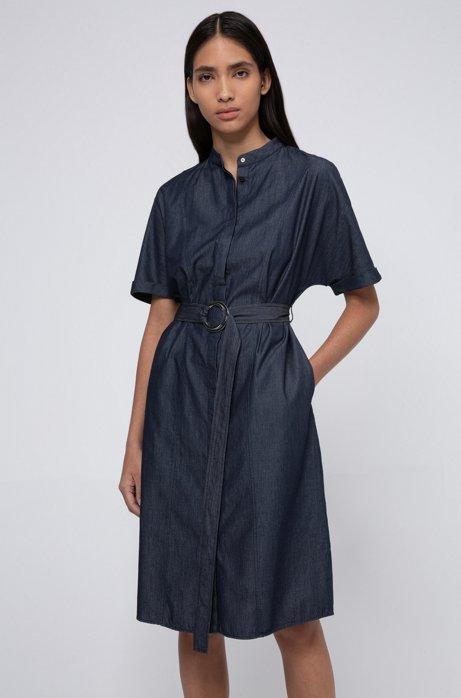 Robe-chemise à col mao en denim italien, Bleu foncé
