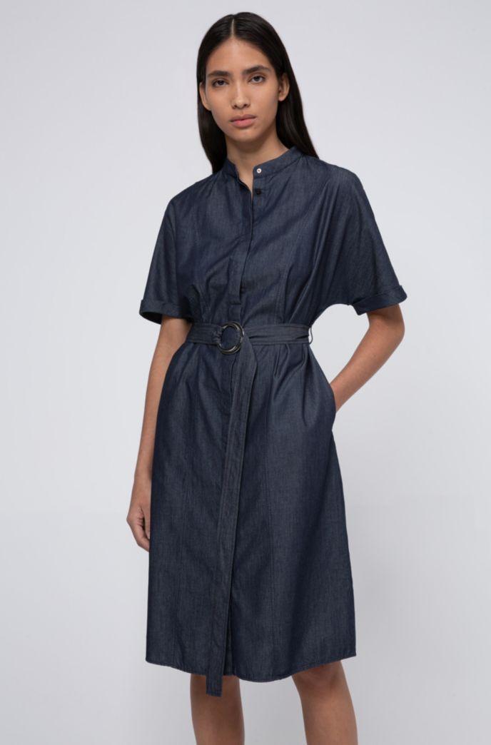 Robe-chemise à col mao en denim italien