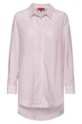 Blusa oversize fit de algodón a rayas con logo de la colección, Blanco