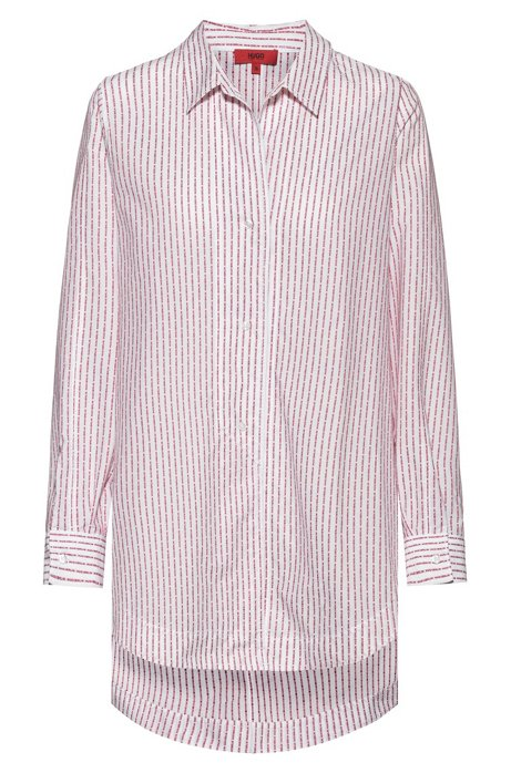 Oversized-fit blouse in cotton with collection logo stripes, White