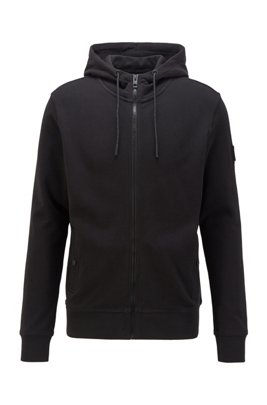 Relaxed-fit hooded sweatshirt in cotton terry, Black