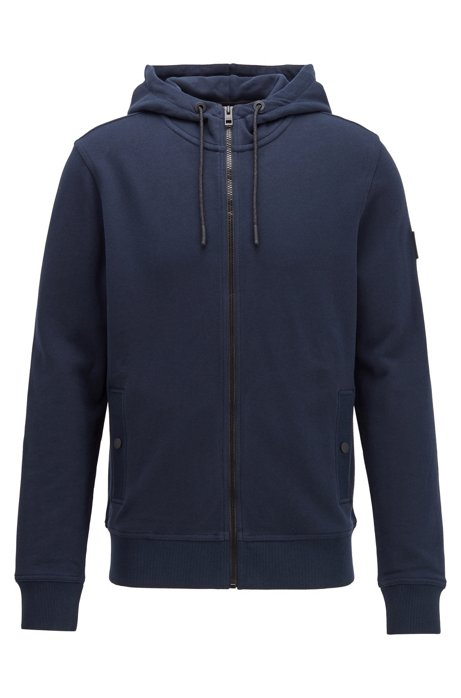Relaxed-fit hooded sweatshirt in cotton terry, Dark Blue