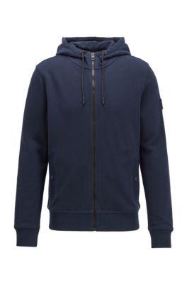 Relaxed-fit sweater met capuchon van katoenen sweatstof, Donkerblauw