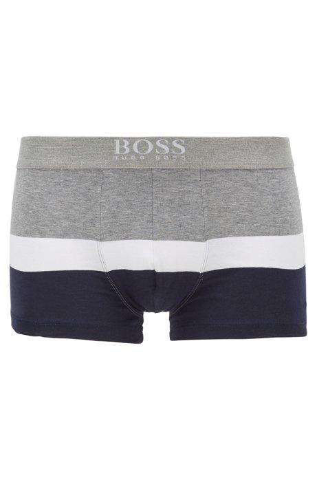 Boxer court à rayures larges en coton stretch, Gris