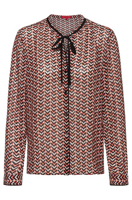 Chiffon blouse with 70s-inspired micro print, Patterned