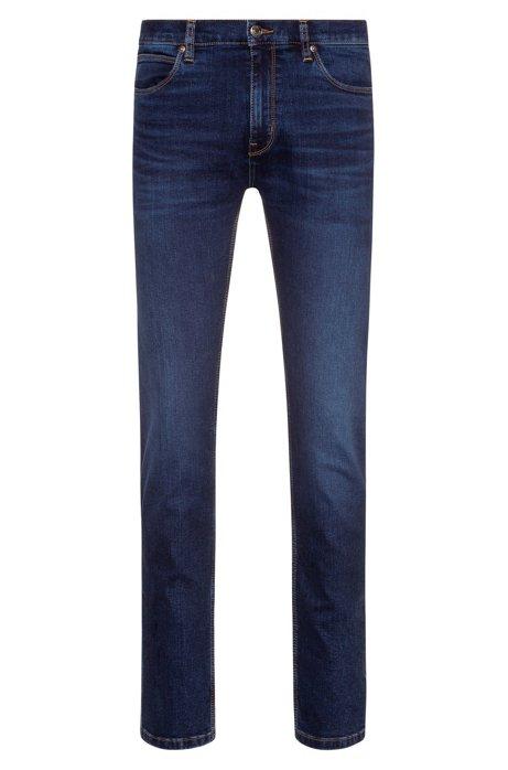Slim-fit jeans in lasered stretch denim, Dark Blue