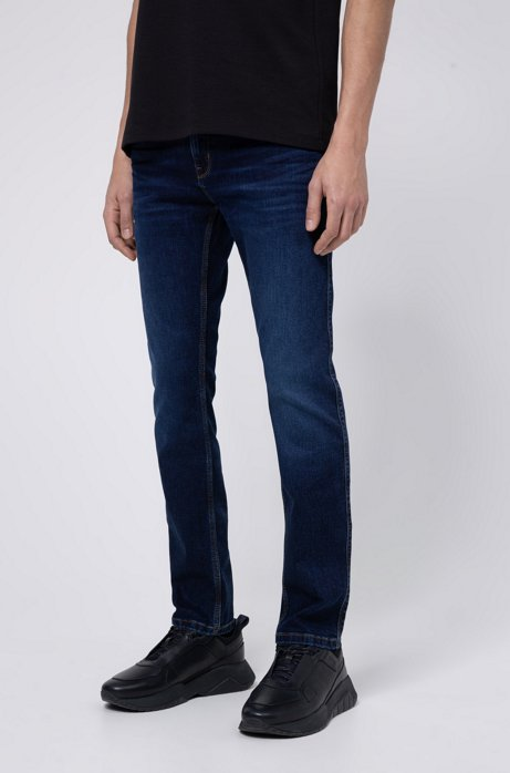 Jean Slim Fit en denim stretch traité au laser, Bleu foncé