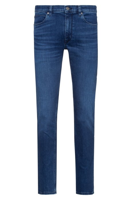 Jean Skinny Fit en denim stretch bleu moyen traité au laser, Bleu