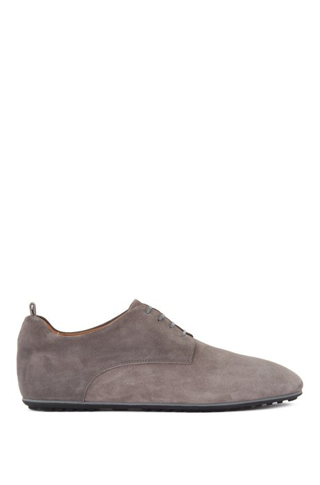 Italian-made Derby shoes in suede with rubber sole, Grey