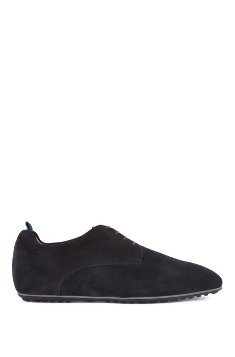 Italian-made Derby shoes in suede with rubber sole, Dark Blue