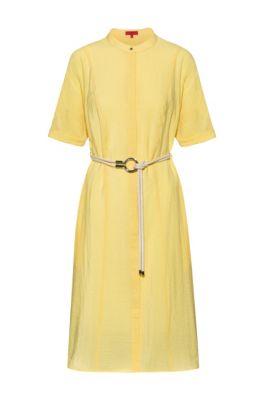 Robe-chemise Slim Fit en toile délavée avec ceinture, Jaune clair