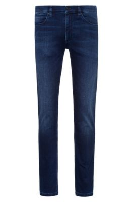 Skinny-fit jeans in dark-blue jersey denim, Dark Blue