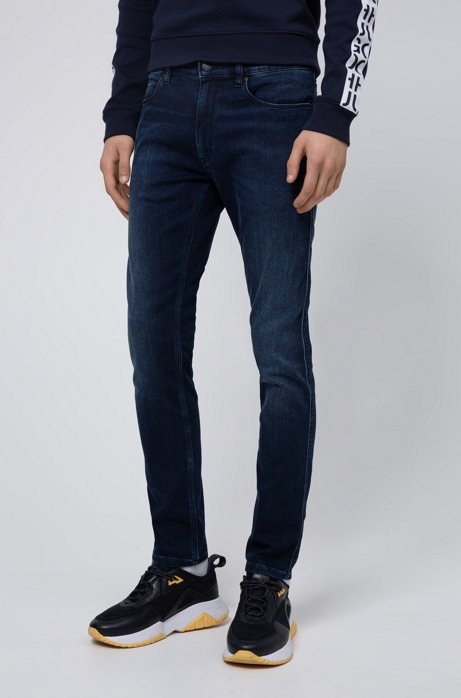 Skinny-fit jeans van donkerblauw denim van jersey, Donkerblauw