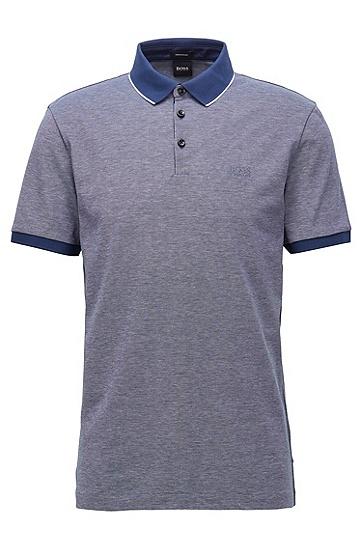 男士牛津棉珠地布常规版型 Polo 衬衫 ,  407_暗蓝色