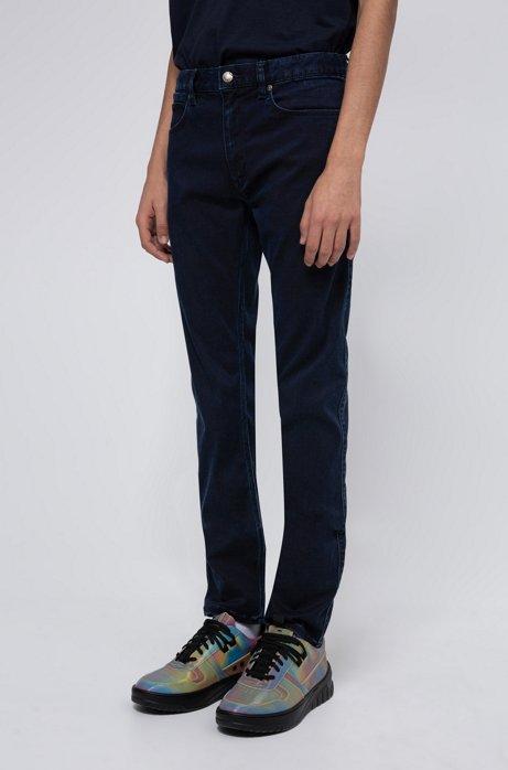 Extra-slim fit jeans in dark-blue satin-touch denim, Dark Blue