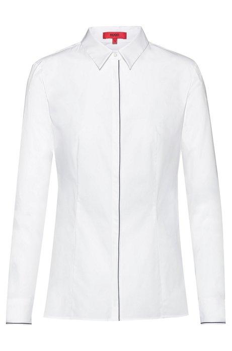 Slim-fit blouse van stretchkatoen met biesdetails, Wit