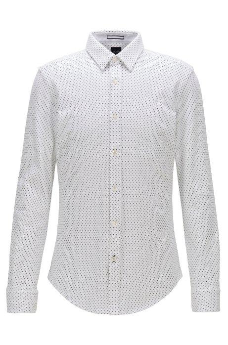 Camisa slim fit estampada de piqué de punto, Blanco