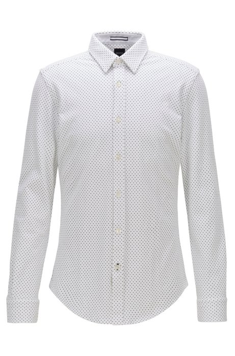 Camicia slim fit stampata in jersey piqué, Bianco