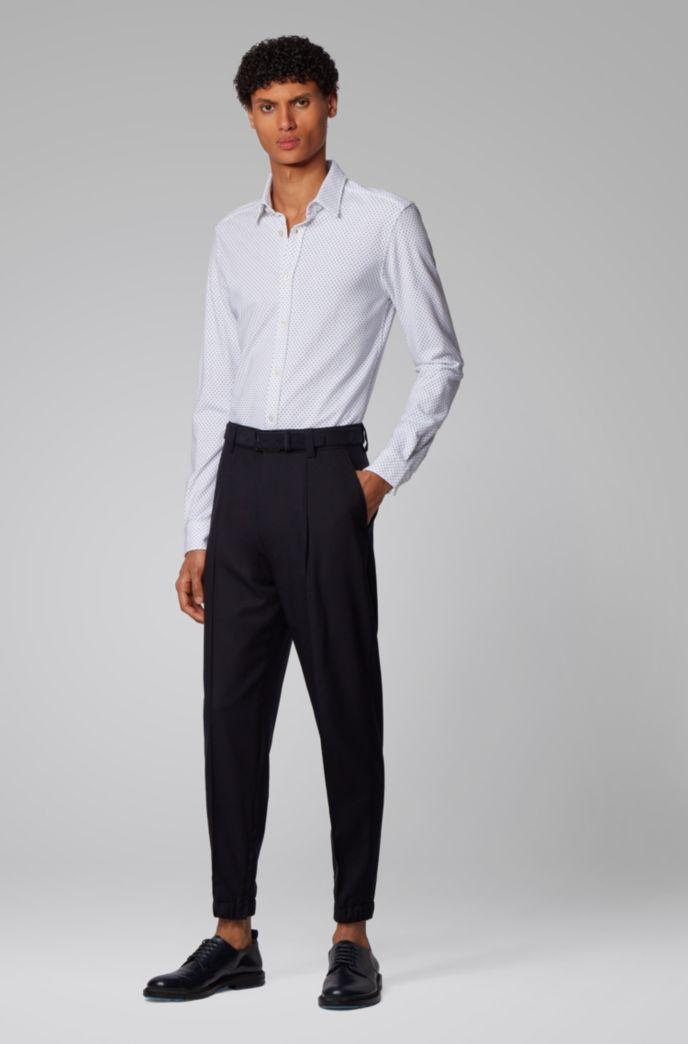 Bedrucktes Slim-Fit Hemd aus Jersey-Piqué