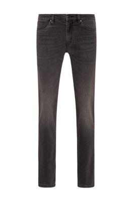 Slim-fit jeans in dark-grey lasered stretch denim, Anthracite