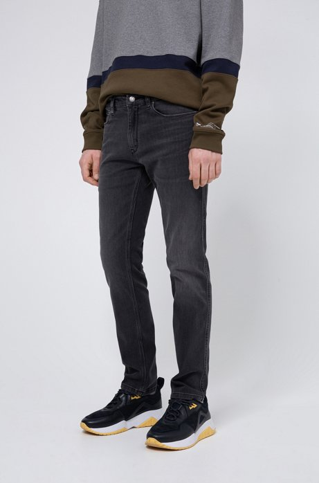 Slim-fit jeans in dark-grey lasered stretch denim, Anthracite
