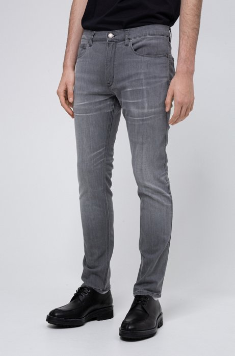Extra-slim fit jeans in mid-grey comfort-stretch denim, Grey