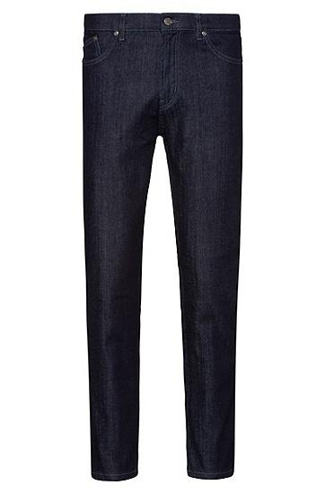 男士深蓝色锥形弹力牛仔裤,  401_暗蓝色