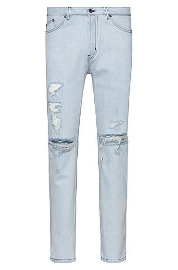 男士淡蓝色破旧效果牛仔布锥形牛仔裤,  450_浅蓝色