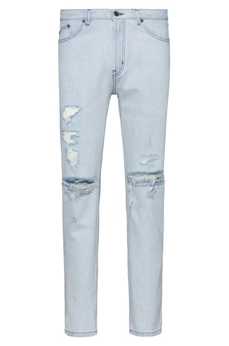 Tapered-fit jeans in light-blue distressed denim, Light Blue