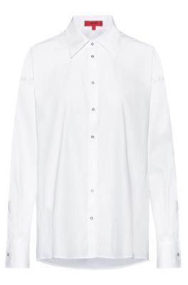 Camicetta oversize in popeline di cotone elasticizzato, Bianco