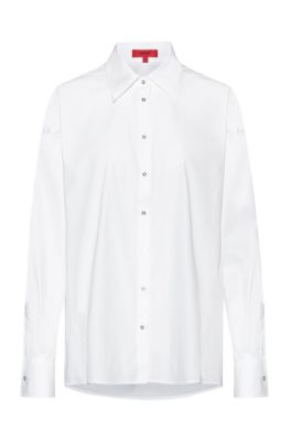 Oversized-fit blouse in stretch-cotton poplin, White