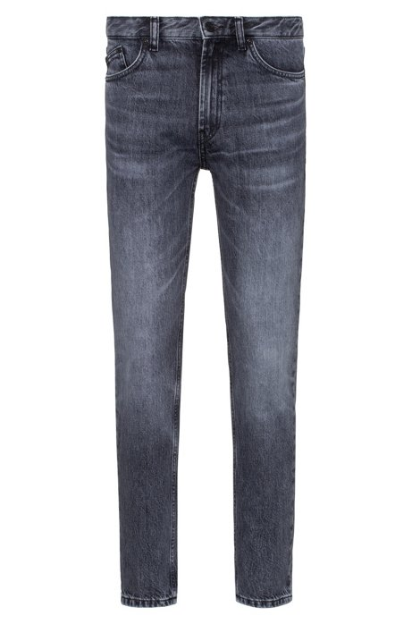 Tapered-fit jeans in Italian rigid denim, Anthracite