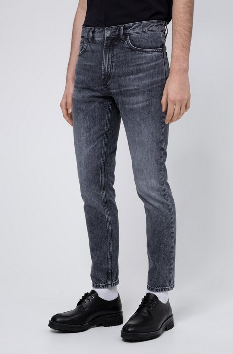 Tapered-fit jeans van robuust, Italiaans denim, Donkergrijs