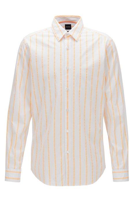 Regular-fit overhemd van katoen met neonstrepen, Oranje